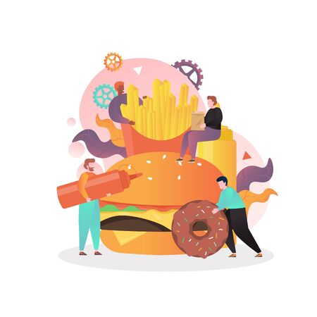 Tiny characters cooking huge hamburger, french fries, donut, vector illustration. Unhealthy junk food, fast food restaurant concept for web banner, website page etc. 일러스트
