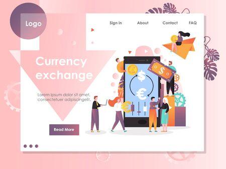 Currency exchange vector website landing page design template