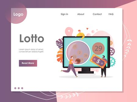 Lotto vector website landing page design template