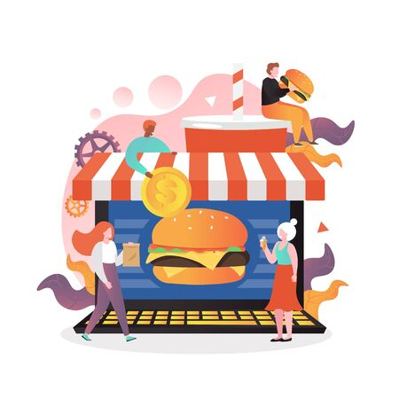 Fast food online vector concept for web banner, website page