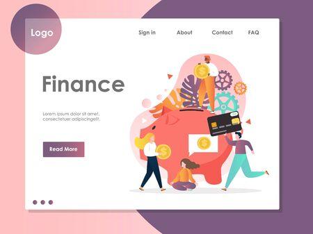 Finance vector website landing page design template Stock Illustratie