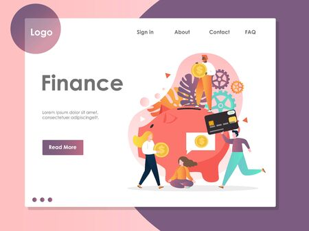 Finance vector website landing page design template 向量圖像
