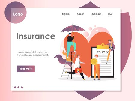 Insurance vector website landing page design template Çizim