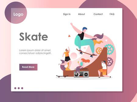 Skate vector website landing page design template Vectores