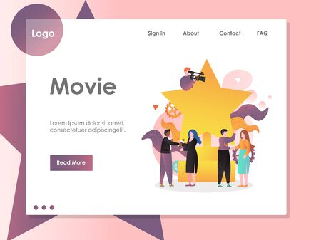 Movie vector website landing page design template