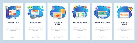 Mobile app onboarding screens. Business and financial analytics, charts, media content, landing page. Menu vector banner template for website and mobile development. Web site design flat illustration Çizim