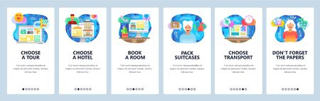 Mobile app onboarding screens. Plan vacation, travel, hotel booking, buy air tickets online. Menu vector banner template for website and mobile development. Web site design flat illustration Иллюстрация