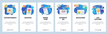 Mobile app onboarding screens. Online sales, advertisement, promotion timer, gift card. Menu vector banner template for website and mobile development. Web site design flat illustration