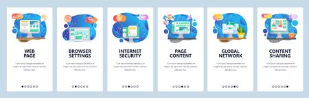 Mobile app onboarding screens. Computer technologies, internet security, content sharing. Menu vector banner template for website and mobile development. Web site design flat illustration 写真素材 - 129395994