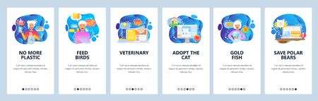 Mobile app onboarding screens. Save the planet, protect animals, no plastic bags. Menu vector banner template for website and mobile development. Web site design flat illustration