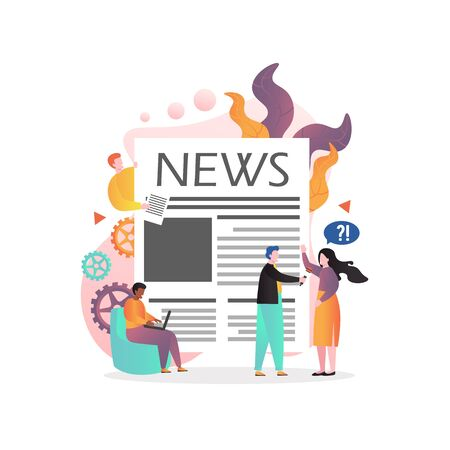 Huge newspaper front page, tiny characters journalist, reporter interviewing young woman, man using laptop, vector illustration. Press, mass media, daily news reports creating concept for website page