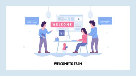 Vector web site design template. Welcome to the team. Business office, teemwork meeting. Landing page concepts for website and mobile development. Modern flat illustration
