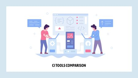 Vector web site design template. Continuous Integration CI software development. Agile methodology of coding. Landing page concepts for website and mobile development. Modern flat illustration