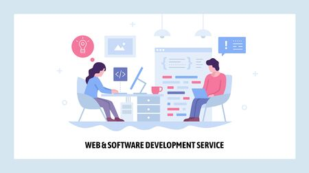 Vector web site design template. Software project development. Team of coders work together. Landing page concepts for website and mobile development. Modern flat illustration
