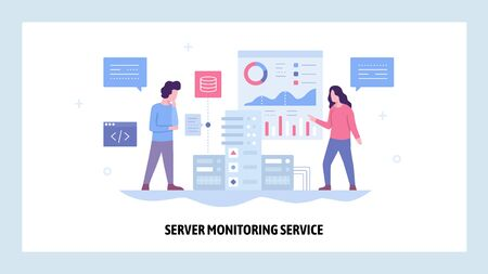 Vector web site design template. Data center server monitoring system. Network and computer performance chart. Landing page concepts for website and mobile development. Modern flat illustration Çizim