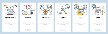 Science website and mobile app onboarding screens vector template