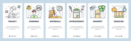 Onboarding for web site and mobile app. Menu banner vector template for website and application development. Project, Foreman, Materials, Approvement, Payment, Deadline walkthrough screens.