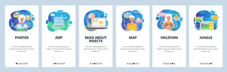 Summer vacation web site and mobile app onboarding screens. Menu banner vector template for website and application development with blue gradient dynamic liquid abstract shapes. Vectores