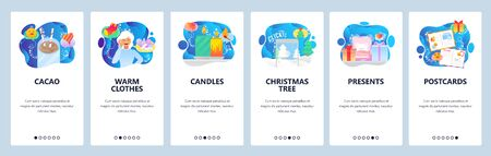 Christmas website and mobile app onboarding screens vector template