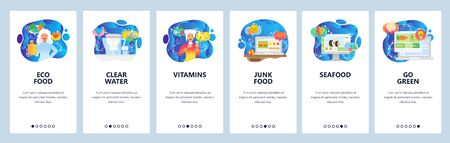 Food website and mobile app onboarding screens vector template Illustration