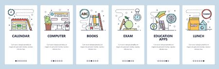 Education website and mobile app onboarding screens vector template Vectores