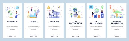 Oil industry website and mobile app onboarding screens vector template Ilustracja