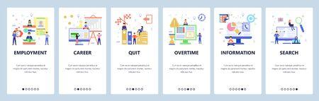 Website and mobile app onboarding screens vector template