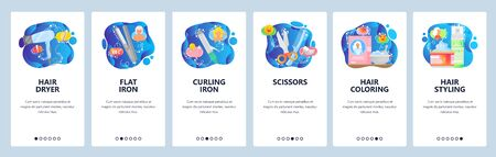 Mobile app onboarding screens. Hair beauty salon accessories, hairdryer, iron, coloring. Menu vector banner template for website and mobile development. Web site design flat illustration