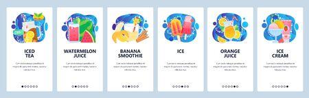 Mobile app onboarding screens. Summer drinks, iced tea, fruit smoothie, orange juice, ice cream. Menu vector banner template for website and mobile development. Web site design flat illustration. Иллюстрация
