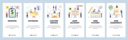 Mobile app onboarding screens. Business contract, database, user profile account, web history. Menu vector banner template for website and mobile development. Web site design flat illustration.