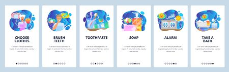 Mobile app onboarding screens. Morning routine, toothbrush, soap, alarm clock, taking a bath. Menu vector banner template for website and mobile development. Web site design flat illustration. Ilustrace