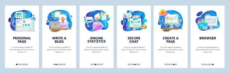 Mobile app onboarding screens. Write a blog and create personal site, secure chat, online statistics. Menu vector banner template for website and mobile development. Web site design flat illustration Vectores
