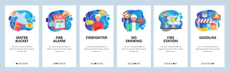 Mobile app onboarding screens. Fire fighting station, man firefighter, alarm signal, no smoking sign, flammable stuff. Vector banner template for website and mobile development. Web site illustration  イラスト・ベクター素材