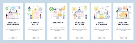 Mobile app onboarding screens. Business team and content marketing, online shopping, email technology. Menu vector banner template for website and mobile development. Web site design flat illustration. Çizim