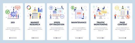 Mobile app onboarding screens. Digital and seo marketing, speed optimization, traffic monitoring. Menu vector banner template for website and mobile development. Web site design flat illustration