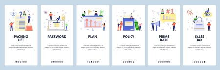 Mobile app onboarding screens. Online shopping, business plan, login password. Menu vector banner template for website and mobile development. Web site design flat illustration.