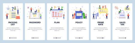 Mobile app onboarding screens. Online shopping, business plan, login password. Menu vector banner template for website and mobile development. Web site design flat illustration.