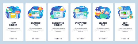 Mobile app onboarding screens. Computer security technology, encrypted files and data, search files, corrupted. Vector banner template for website and mobile development. Web site design illustration