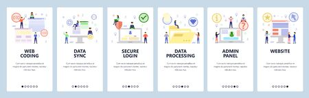 Mobile app onboarding screens. Web coding, cyber security, data sync and processing, admin panel login. Vector banner template for website and mobile development. Web site design flat illustration