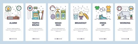 Mobile app onboarding screens. Morning routine, alarm clock, toothbrush, wash face, breakfast, dress up, office desk. Vector banner template for website and mobile development. Web site illustration