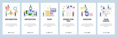 Mobile app onboarding screens. Vacation and air travel icons, book tour package, map, baggage. Menu vector banner template for website and mobile development. Web site design flat illustration