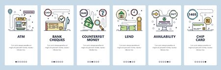 Mobile app onboarding screens. Banking icons, ATM, cheques, chip credit card, money loan. Menu vector banner template for website and mobile development. Web site design flat illustration Vectores