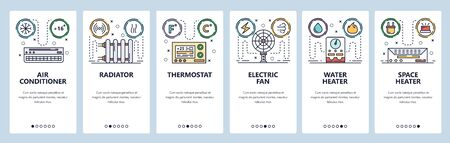 Mobile app onboarding screens. Home climate system, air con, water heater, thermostat. Menu vector banner template for website and mobile development. Web site design flat illustration. Illusztráció