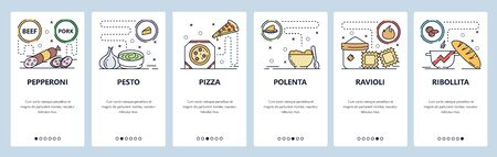 Mobile app onboarding screens. Italian food, salami, pesto sauce, pizza and raviolli. Menu vector banner template for website and mobile development. Web site design flat illustration.
