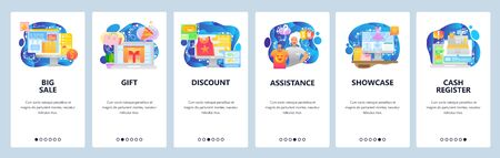Mobile app onboarding screens. Online shopping, sale, discount, female store assiatant, cash register. Menu vector banner template for website and mobile development. Web site design flat illustration.