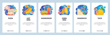 Mobile app onboarding screens. Fast food restaurant menu, pizza box, hot dog, sandwich, taco, burger. Menu vector banner template for website and mobile development. Web site design flat illustration.