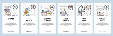 Mobile app onboarding screens. Sweet food, ice cream, oat milk, dairy products, cheese cake. Menu vector banner template for website and mobile development. Web site design flat illustration.