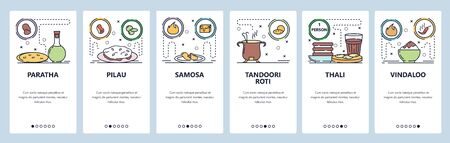 Mobile app onboarding screens. Indian and South-East Asia cuisine food, pilau, thali, roti, samosa. Menu vector banner template for website and mobile development. Web site design flat illustration