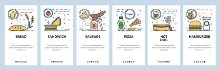 Mobile app onboarding screens. Fast food restaurant menu, sandwich, pizza, hot dog, hamburger. Vector banner template for website and mobile development. Web site design flat illustration