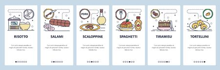 Mobile app onboarding screens. Italian cuisine, food, risotto, salami, pasta, tortellini. Menu vector banner template for website and mobile development. Web site design flat illustration.